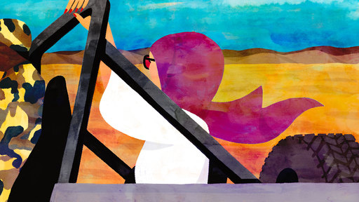Cover Photo: An illustration of a white woman holding the crossbar of a Jeep as she rides through the desert. She is wearing sunglasses and a fuchsia headscarf and her face is turned away from the viewer. Driving the Jeep is a Black man in army fatigues.