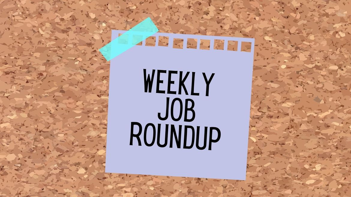"""Cover Photo: This graphic has a background that looks like a cork board. In the center, there is a purple sticky note that reads """"Weekly Job Roundup"""""""