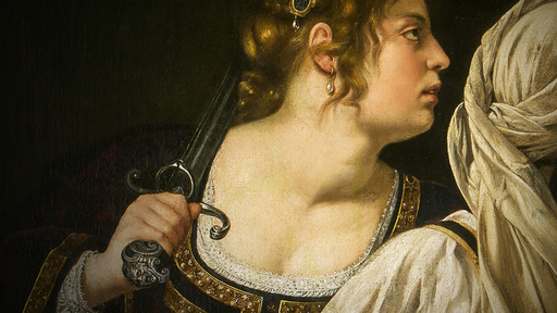 Cover Photo: A detail of a painting of a woman holding a sword against her shoulder and turning her head to the right of the frame. From her neck bulges a large goiter. The background of the painting is dark; to her right is another woman in a headscarf.