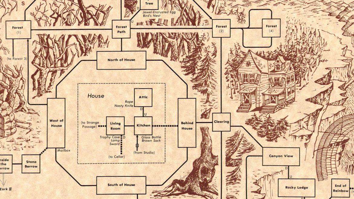 Cover Photo: This map shows parts of the land you can explore in the interactive game Zork 1. It includes various places you can explore in a the forest, a house, a canyon, and more.