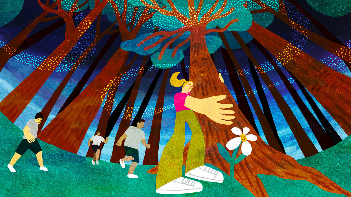 Cover Photo: colorful illustration featuring a blond-haired girl in a pink shirt and green pants embracing a tree with a face visible in the trunk, other children in the background