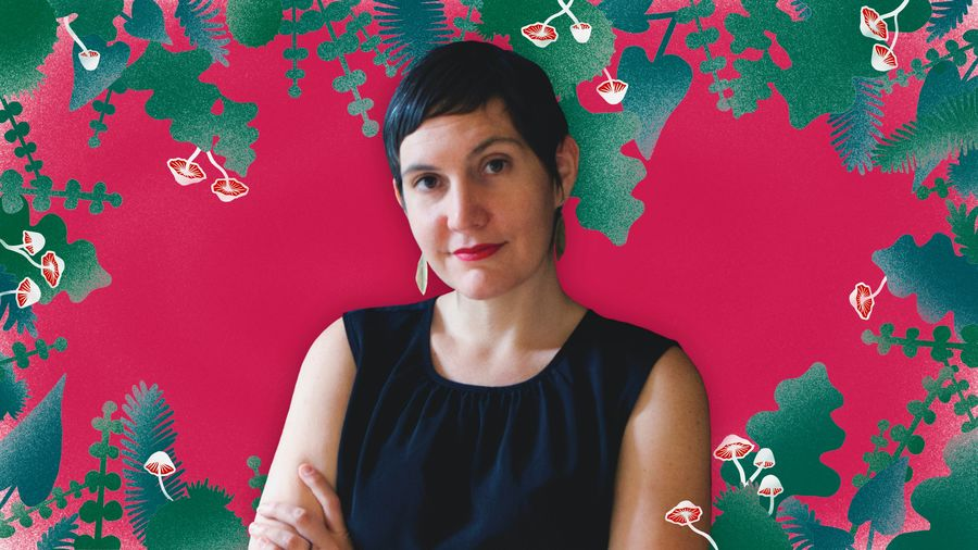 Cover Photo: An image of Laia Jufresa against a pink background and leaves and mushrooms make a border along the image