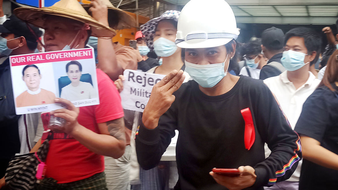 Cover Photo: An image from a protest in Myanmar