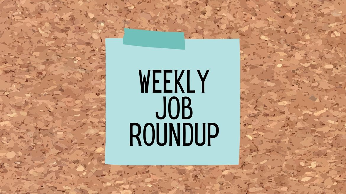 """Cover Photo: This graphic has a background that looks like a cork board. In the center of the image, there is a teal sticky note, which reads """"weekly job roundup"""""""