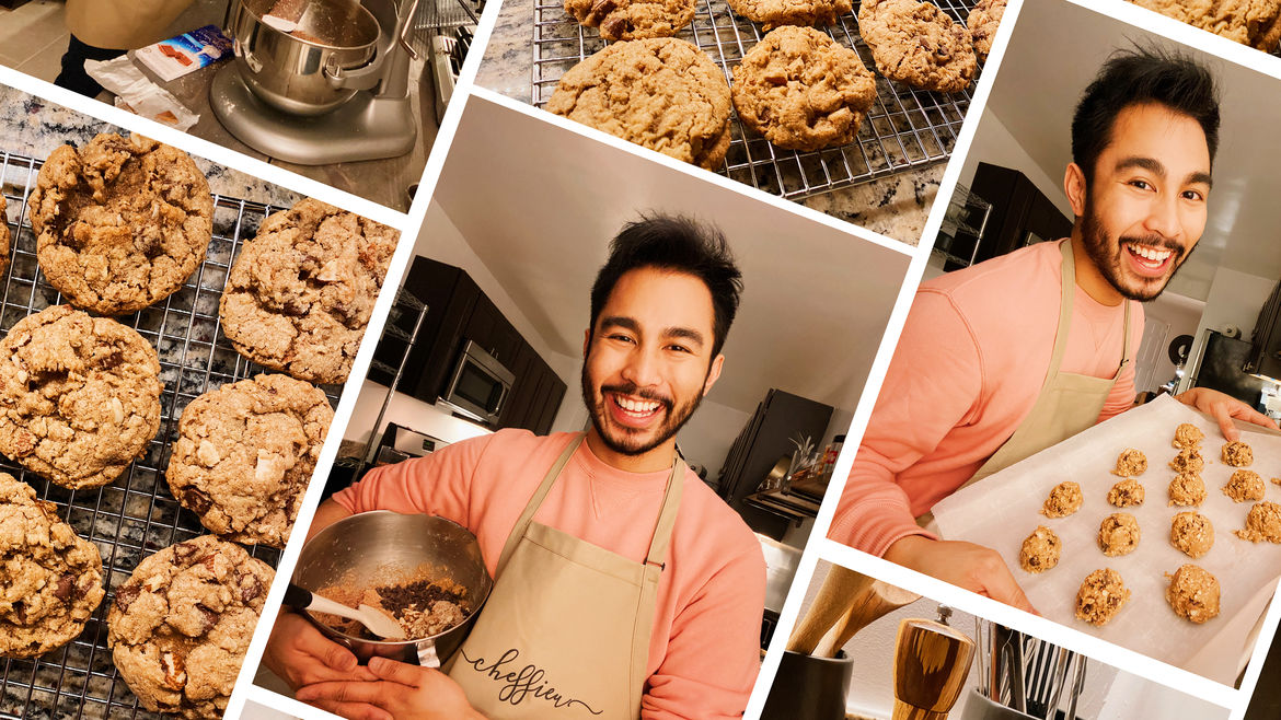 Cover Photo: collage consisting of several photos of oatmeal chocolate chip cookies and the author baking them