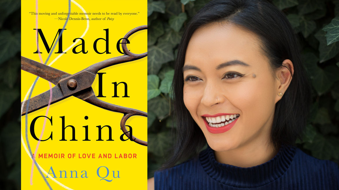 """Cover Photo: On the left is an image of the cover of Anna Qu's book, """"Made in China."""" The book cover is bright yellow and has a large pair of rusted metal scissors positioned to cut three threads. On the right is Anna Qu, a woman with chin-length dark hair looking to the left of the frame and smiling."""