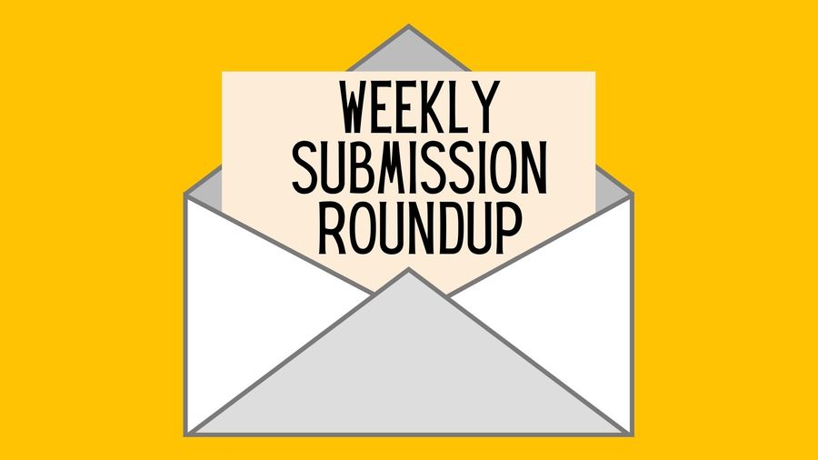 """Cover Photo: This graphic has a mustard-yellow background with a grey envelope in the center. A piece of paper in the center reads """"Weekly Submission Roundup"""""""