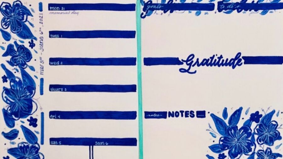 Cover Photo: This is a photograph of one of the author's bullet journal pages. It's a calendar drawn out in dark blue marker, with flowers around the edges and a section for goals, to do's, gratitude, and notes