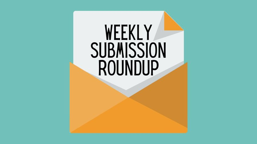 """Cover Photo: This graphic has a teal background with a yellow envelope in the center. A piece of paper coming out of the envelope reads """"Weekly Submission Roundup"""""""