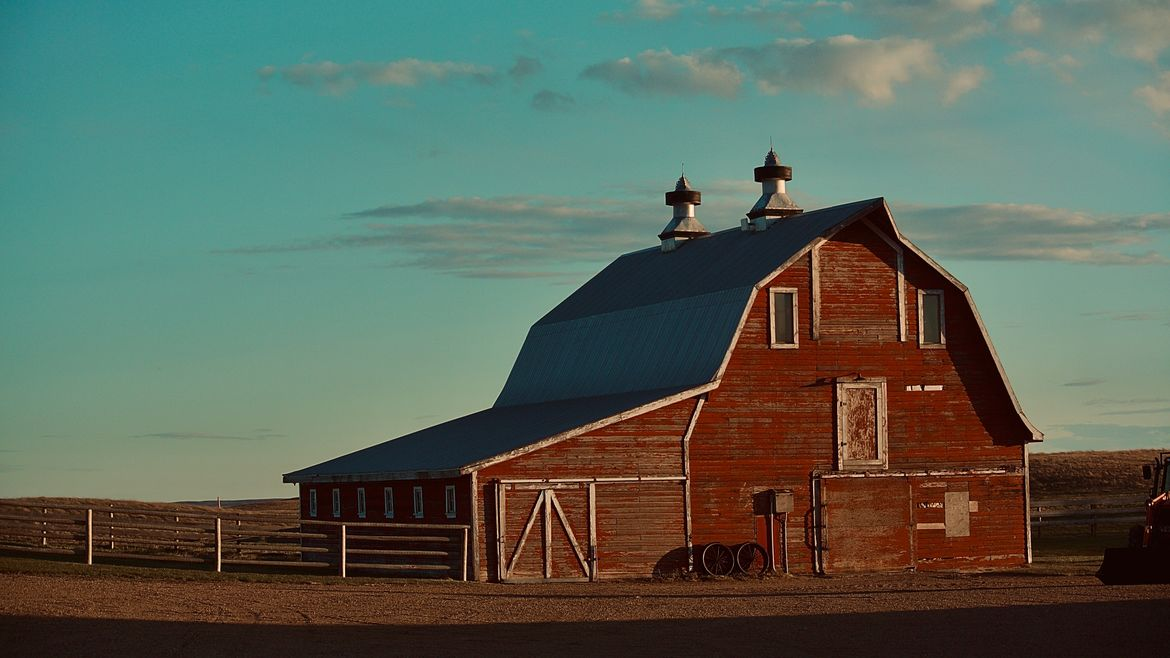 Cover Photo: This photograph is of a red barn with a startling blue sky, almost teal, behind it. There are some wispy clouds with tones of purple and yellow, as if the sun is beginning to set. The barn sits on a dirt field and the low hills behind the barn are brown and dry.