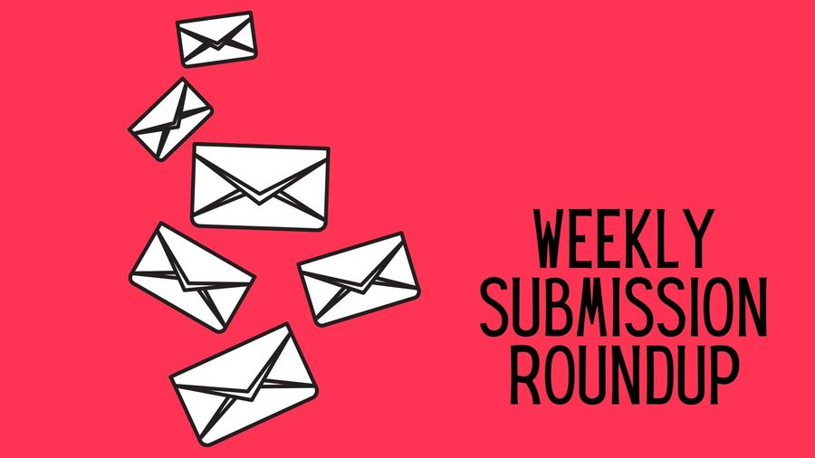 """Cover Photo: This graphic has a bright red background with white envelopes along the left hand side. On the right are the words """"Weekly Submission Roundup"""""""