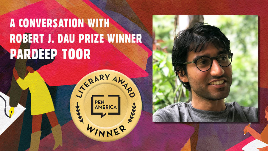 """Cover Photo: This graphic is a close-up of the 'Best Debut Short Stories 2021' book cover, and includes the words """"A conversation with Robert J. Dau Prize Winnder Pardeep Toor"""" along with the author's headshot"""