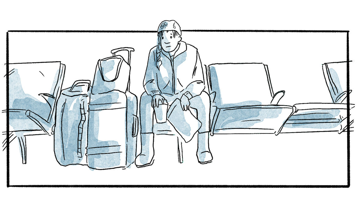 Cover Photo: white and blue-gray comic illustration  of the author sitting in a row of airport seats next to their luggage, holding a coffee cup and a paper bag, their braid visible under their cap