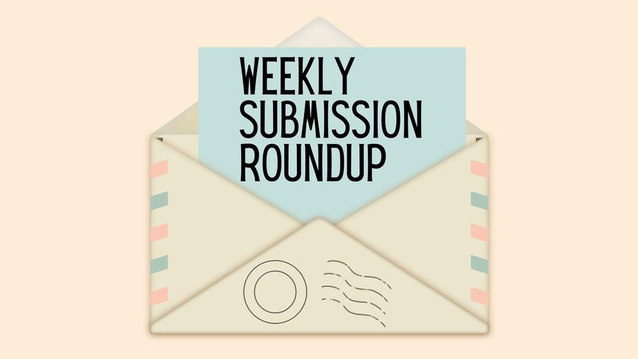"""Cover Photo: This graphic has a pale pink background with an envelope in the middle. Coming out of the envelope, a pale blue piece of paper reads """"Weekly Submission Roundup"""""""