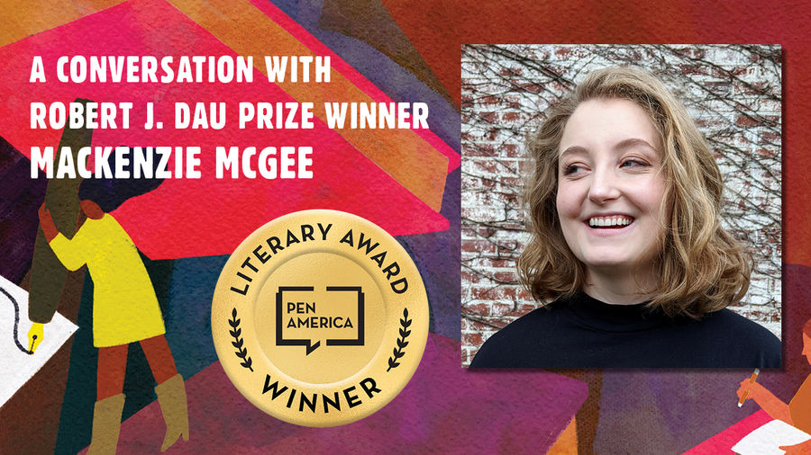 """Cover Photo: This graphic is a close-up of the 'Best Debut Short Stories 2021' book cover, and includes the words """"A conversation with Robert J. Dau Prize Winnder Mackenzie McGee"""" along with the author's headshot"""