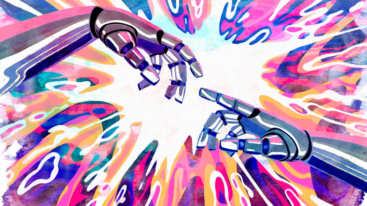 Cover Photo: An illustration of two hands, made of metal reaching for one another