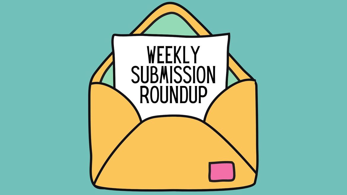"""Cover Photo: This graphic has a turquoise background with a yellow cartoon envelope in the center. Coming out of the envelope is a piece of paper that reads """"Weekly Submission Roundup"""""""
