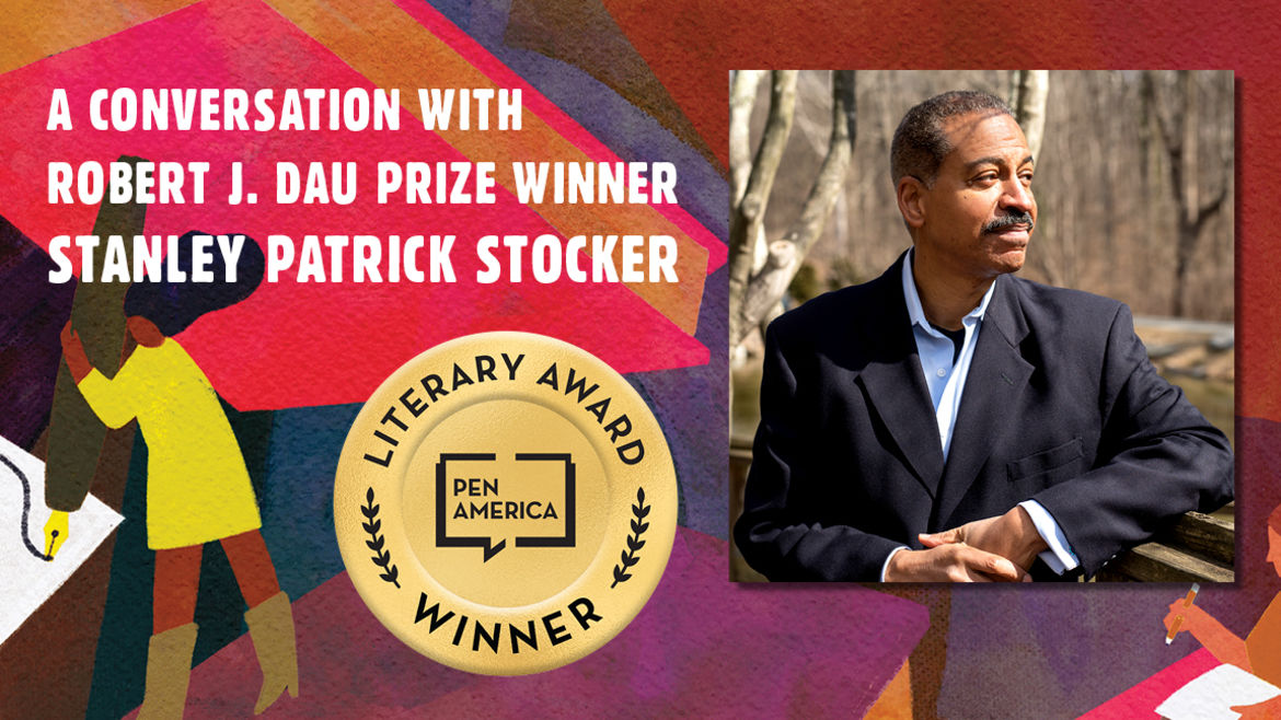 """Cover Photo: This graphic is a close-up of the 'Best Debut Short Stories 2021' book cover, and includes the words """"A conversation with Robert J. Dau Prize Winner Stanley Patrick Stocker"""" along with the author's headshot"""