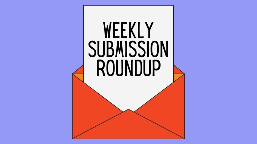"""Cover Photo: Illustration of open red envelope against a lavender background.  Peeking out from inside the envelop is a piece of paper that reads """"weekly submission roundup"""""""