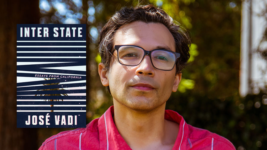 Cover Photo: photograph of the author, José Vadi, next to a superimposed image of his new book, INTER STATE