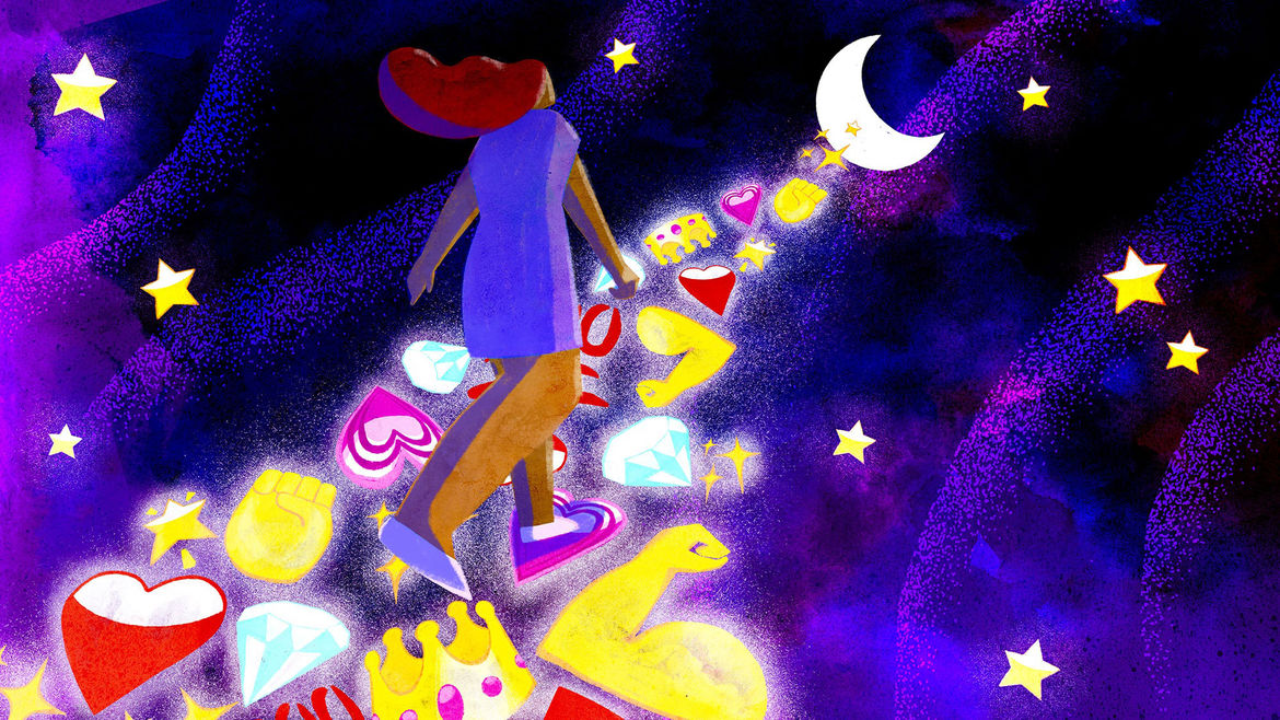 Cover Photo: An illustration of a woman in space walking towards the moon on a staircase consisting of cheerful and supportive emojis: heart, crown, diamond, fist, star