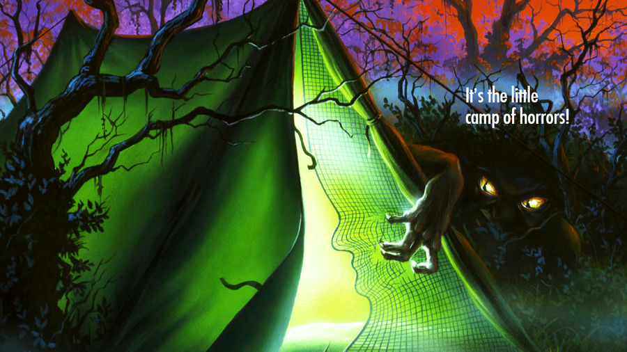 Cover Photo: A book cover from the Goosebumps series: a tent in the terrifying woods at night; a creature with glowing eyes prowls about the tent's opening