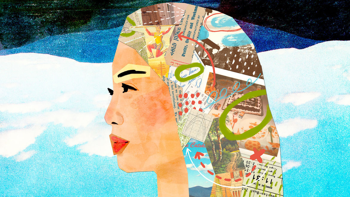 Cover Photo: illustration of a person in profile, with part of their head and neck formed by a collage of snapshots, graphs, letters, clippings, etc. that represent different memories