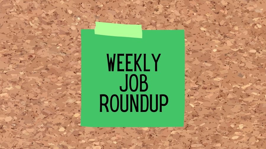 """Cover Photo: Cartoon green sticky note stuck to cork board with the words """"weekly job roundup"""" written on it"""