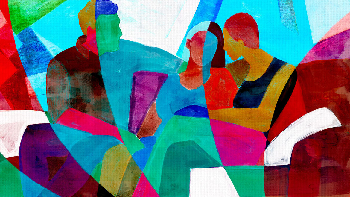 Cover Photo: This illustration shows three people sitting together in close intimacy, their arms around each other, faces turned toward each other as if talking and listening. The illustration is done with bright streaks of color blocking.