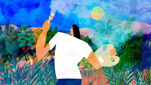 Cover Photo: An illustration of a person holding a painter's palette and brush. The figure is standing against a bright blue sky, surrounded by green vegetation, and painting over the bright blue-and-green landscape with a translucent film such that the colors seem slightly dulled.