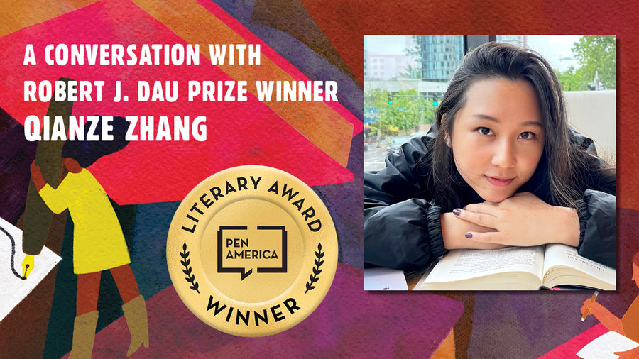"""Cover Photo: This graphic is a close-up of the 'Best Debut Short Stories 2021' book cover, and includes the words """"A conversation with Robert J. Dau Prize Winner Qianze Zang"""" along with the author's headshot"""