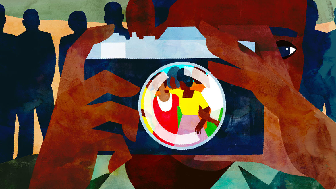 Cover Photo: An illustration of a young boy holding up a camera, lens turned on women in colorful clothing; behind him, the shadows of their missing sons loom