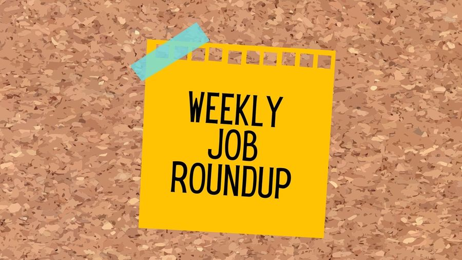 """Cover Photo: Drawing of light orange sticky note stuck to cork board with bright blue tape. Written on the sticky in black is """"Weekly Job Roundup"""""""