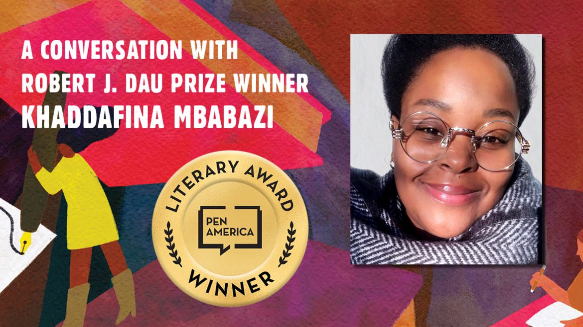 """Cover Photo: This graphic is a close-up of the 'Best Debut Short Stories 2021' book cover, and includes the words """"A conversation with Robert J. Dau Prize Winner Khaddafina Mbabazi """" along with the author's headshot"""