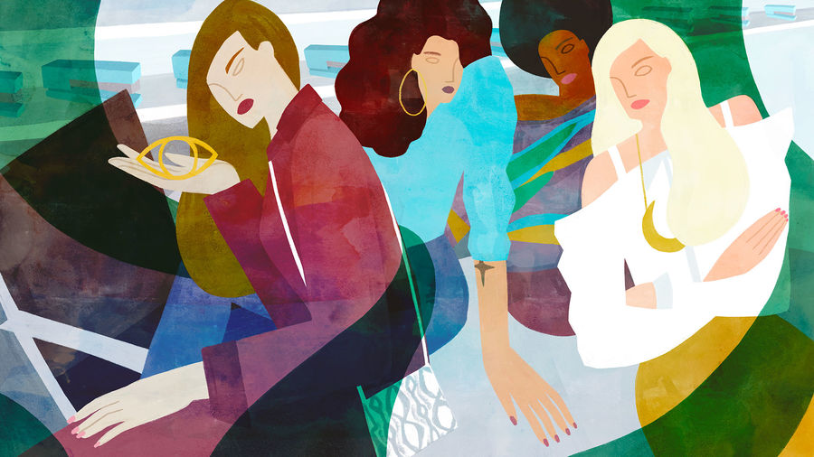 Cover Photo: An illustration of four glamorous and racially-diverse women, shrouded in green smoke