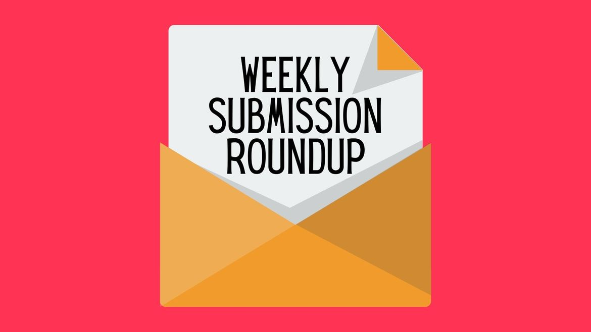 """Cover Photo: There is a cartoon of an open orange envelope against a bright pink background. A paper is peaking out of the envelope that reads """"weekly submission roundup"""""""