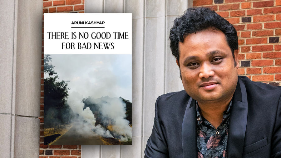 Cover Photo: Aruni's poetry collection, There Is No Good Time for Bad News, which features a photograph of a foreboding cloud of smoke obscuring a road and trees, is pictured next to the author's headshot. Aruni is pictured wearing a suit jacket and shirt patterned with feathers, and is smiling beatifically in front of a brick wall.