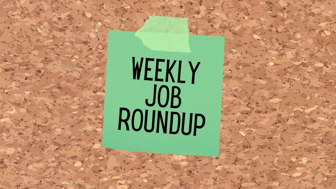 """Cover Photo: There is a cartoon lime green sticky note stuck to a brown cork board.  Written on the sticky note is """"weekly job roundup."""""""