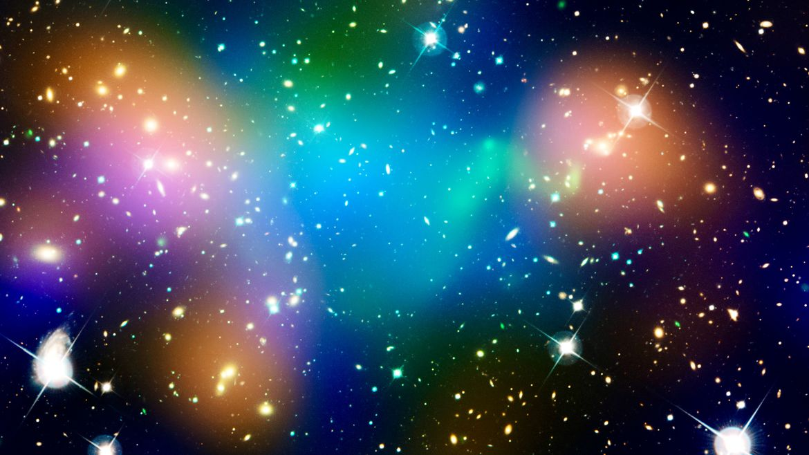 Cover Photo: Composite image by NASA showing a distribution of dark matter, galaxies, and hot gas.