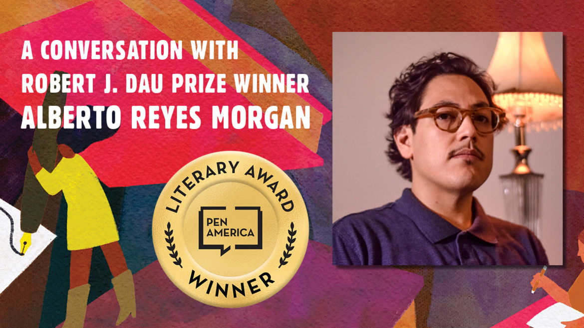 """Cover Photo: This graphic is a close-up of the 'Best Debut Short Stories 2021' book cover, and includes the words """"A conversation with Robert J. Dau Prize Winner Alberto Reyes Morgan"""" along with the author's headshot"""
