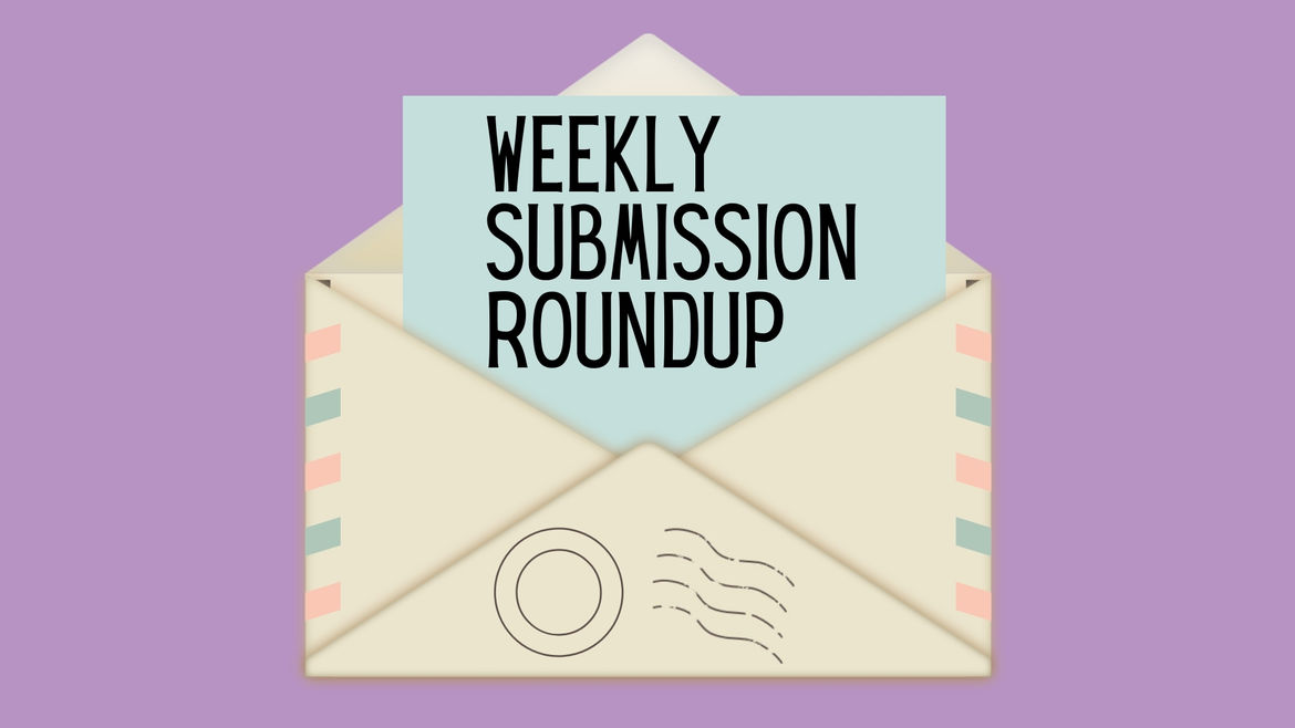 """Cover Photo: Drawing of open envelope against lilac background. Inside the envelope is a piece of paper reading """"weekly submission roundup"""""""