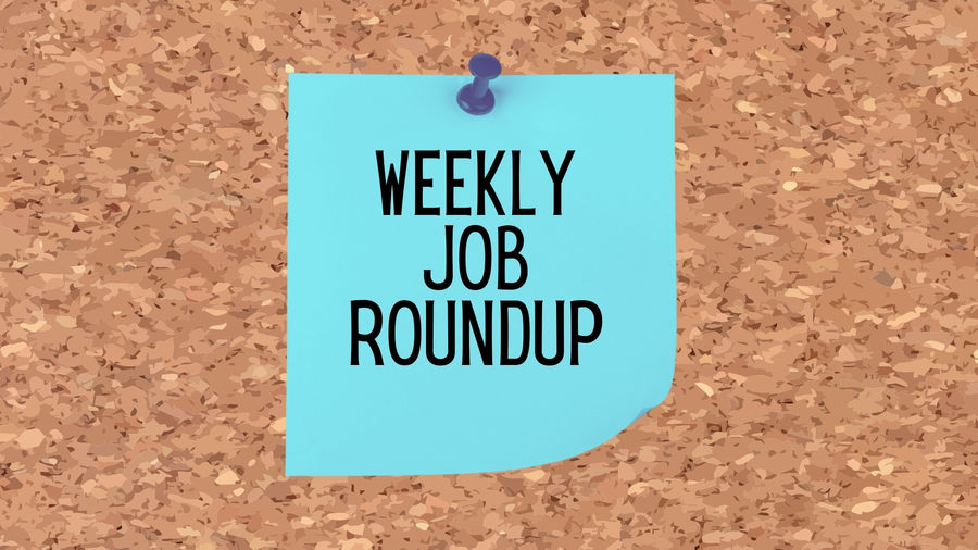 """Cover Photo: Cartoon of light blue sticky note on a cork board. Written on the sticky note is """"weekly job roundup."""""""