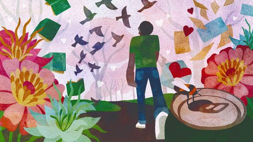Cover Photo: An  image of a man walking  surrounded  by birds, books, flowers and other joys