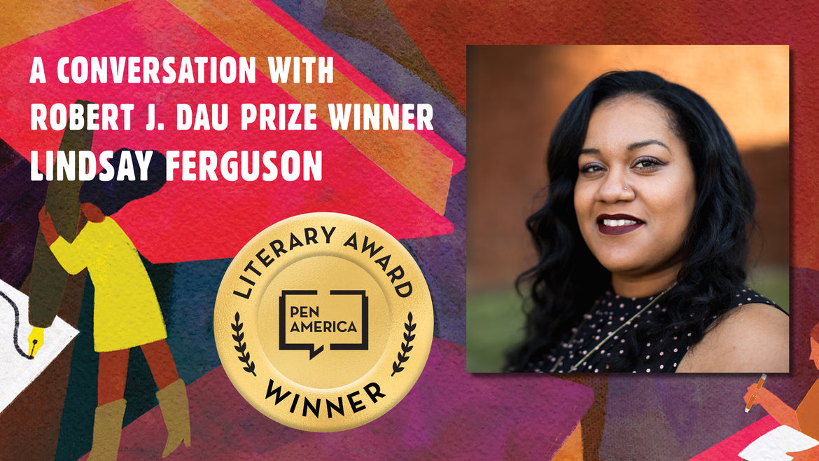 """Cover Photo: This graphic is a close-up of the 'Best Debut Short Stories 2021' book cover, and includes the words """"A conversation with Robert J. Dau Prize Winner Lindsay Ferguson"""" along with the author's headshot"""