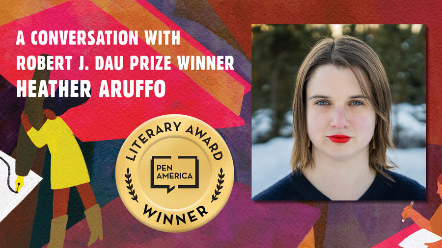 """Cover Photo: This graphic is a close-up of the 'Best Debut Short Stories 2021' book cover, and includes the words """"A conversation with Robert J. Dau Prize Winner Heather Aruffo"""" along with the author's headshot"""
