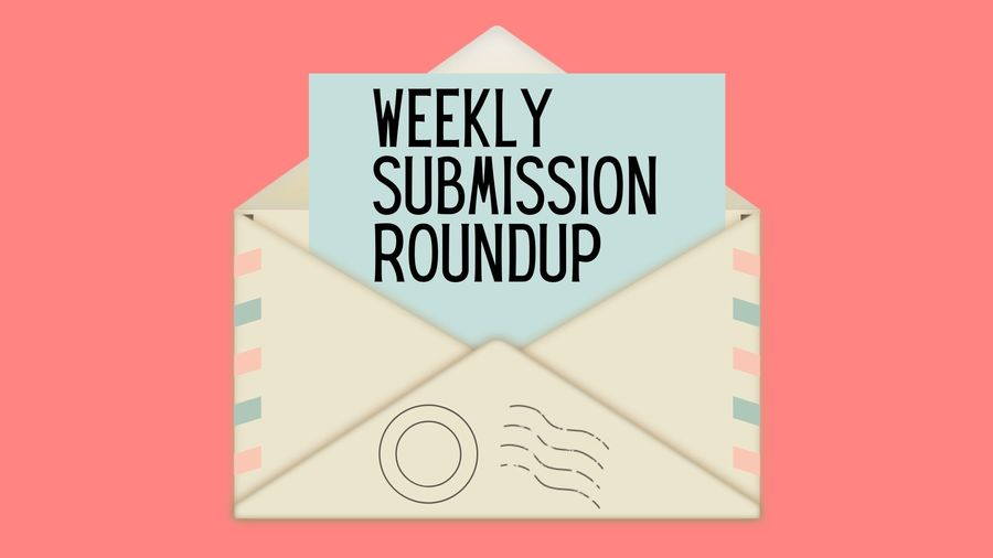 """Cover Photo: There is a drawing of an envelope against a peach colored background. Peaking out from inside the envelope is a light blue paper with black text that reads """"weekly submission roundup."""""""