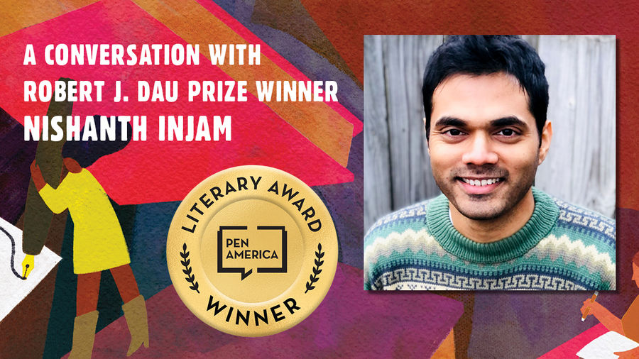 """Cover Photo: This graphic is a close-up of the 'Best Debut Short Stories 2021' book cover, and includes the words """"A conversation with Robert J. Dau Prize Winner Nishanth Injam"""" along with the author's headshot"""