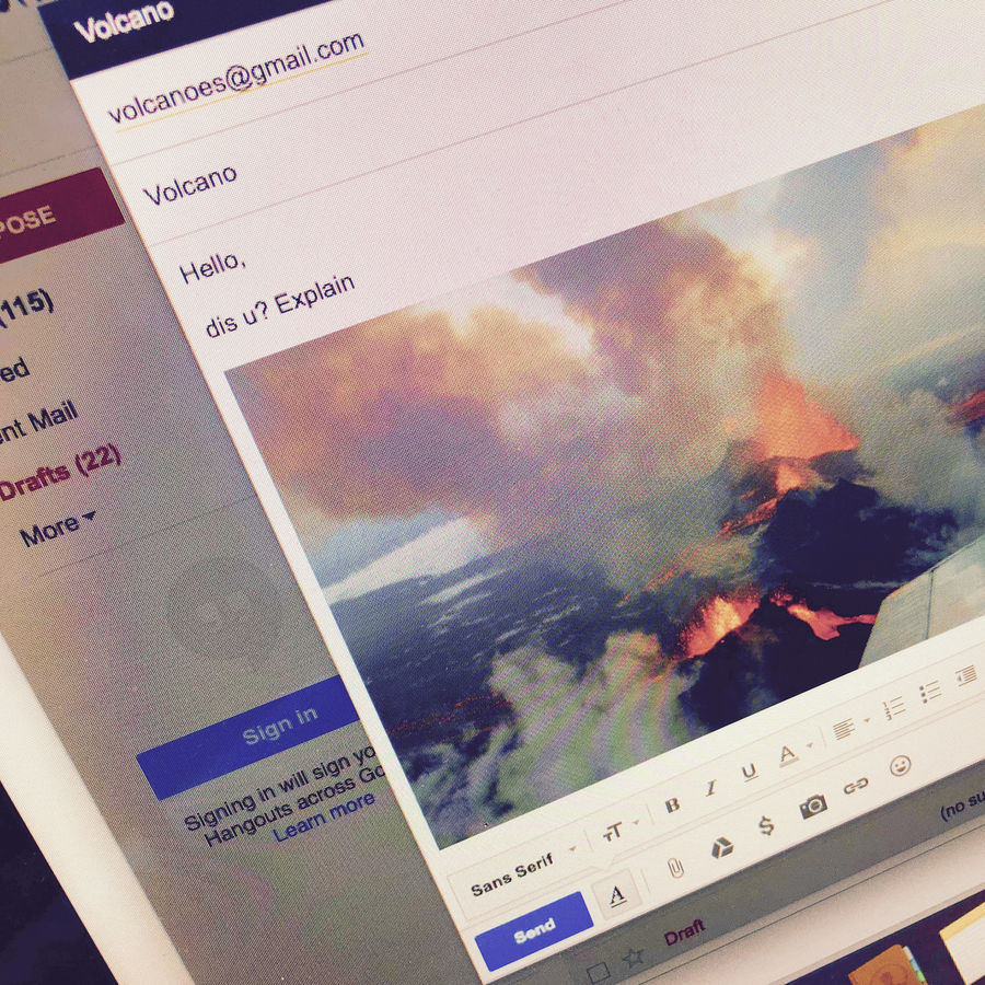 Cover Photo: To Volcanoes (at Gmail), with Love by Jane C. Hu