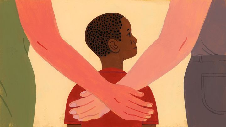 An illustration of a thoughtful-looking young black boy being embraced by two white women.