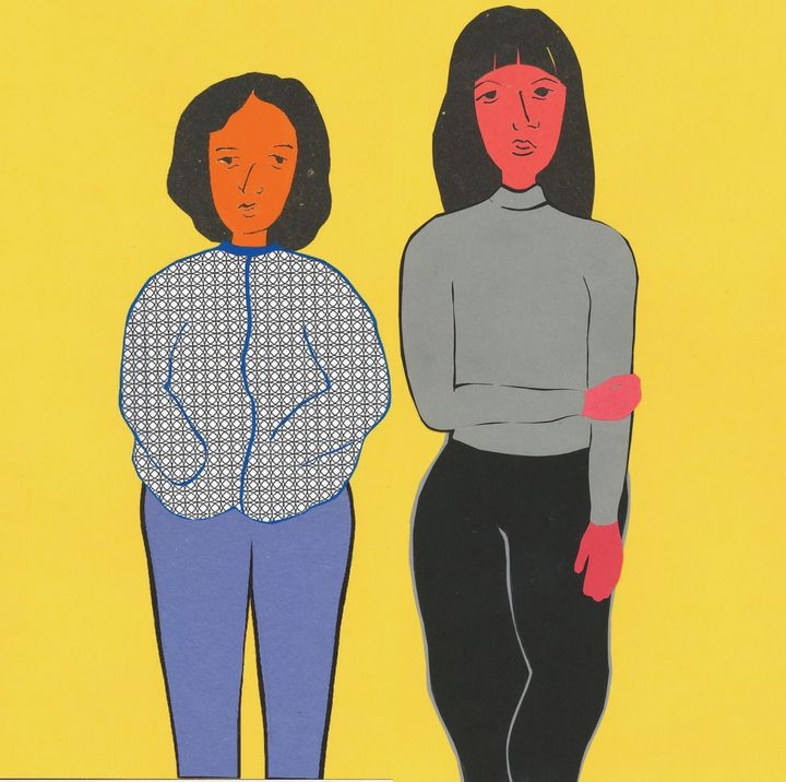 A colorful illustration of the Tseng sisters as adults, gazing at the reader in front of a yellow background.
